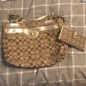 Coach purse and matching slim card wallet